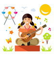 girl with a guitar flat style colorful vector image vector image
