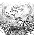 Graphic coral reef scuba divers and sharks vector image vector image