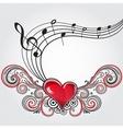 Grunge music heart vector image