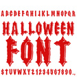 Halloween font Ancient alphabet Blood Gothic vector image vector image