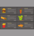 hamburger and soft drink set vector image vector image