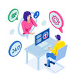 isometric customer service customer and operator vector image