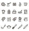 kitchen tools signs black thin line icon set vector image vector image