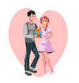 man give gift woman valentine day vector image