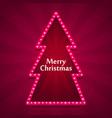 merry christmas neon tree art vector image vector image