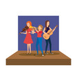 musical band on stage avatars characters vector image