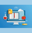 online education learning on computer learning vector image