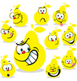 pear icon cartoon with funny faces isolated on vector image vector image