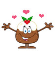 pudding with open arms and hearts vector image