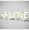 realistic neon hashtag word vector image