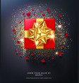 red gift box with gold bow isolated vector image vector image