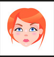 redhead woman serious face flat icon vector image vector image