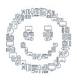 reporter lined icons collection vector image vector image