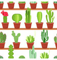 seamless pattern flowers pots with cacti and vector image vector image