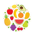 set colorful cartoon fruit icons vector image vector image