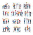 set of successful startup with group of people vector image vector image