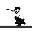 silhouette handsome man with gun vector image vector image