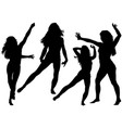 silhouetted dancing young woman vector image vector image