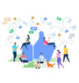 social media networking cartoon characters vector image vector image
