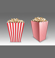 striped paper box with popcorn in cinema vector image vector image
