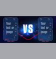vs versus blue and red futuristic design battle vector image