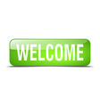 welcome green square 3d realistic isolated web vector image vector image