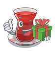 with gift turkish tea in the saucer characters vector image vector image
