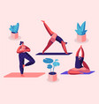 yogi women group doing yoga exercises on mats vector image vector image