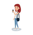cute female student in casual clothes standing and vector image