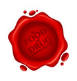 food and drug administration red wax seal with vector image