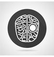 Brain black round icon vector image