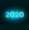 2020 neon sign blue realistic neon numbers
