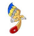 a cute happy cartoon paint brush character mascot vector image vector image