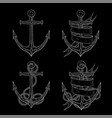 anchors hand drawn sketch on black background vector image vector image