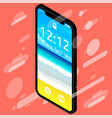 beautiful smartphone with notch displaycolor vector image vector image