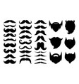 black silhouettes mustaches and beards vector image