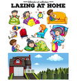 Boys and girls resting at home vector image