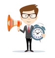 business man with a megaphone looking at you and vector image