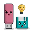 cartoon usb floppy technology digital design vector image