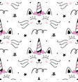 cat unicorn caticorn seamless pattern vector image