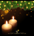 Christmas Background with Burning Candles vector image vector image