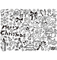christmas doodles background vector image vector image