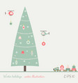 christmas tree with train and helicopter toys vector image