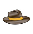 classic men hat with ribbon accessory vector image vector image