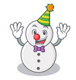 clown snowman character cartoon style vector image