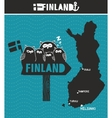 Creative Finland Map and wooden road sign with vector image vector image