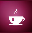 cup with tea bag icon on purple background vector image