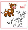 cute cartoon brown cow with bell color and vector image
