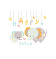 cute little elephant with mother happy child with vector image vector image