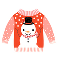 Cute ugly red Christmas sweater with snowman vector image